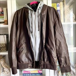 Zara 'Leather' Jacket with removable hoodie